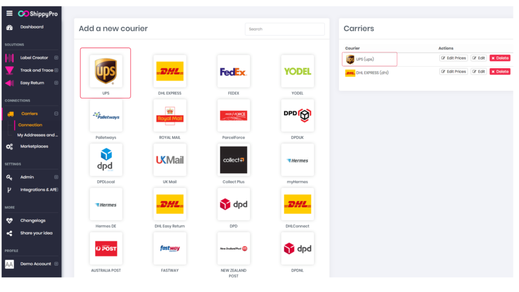 ShippyPro platform: How to add your courriers in one click, demonstration