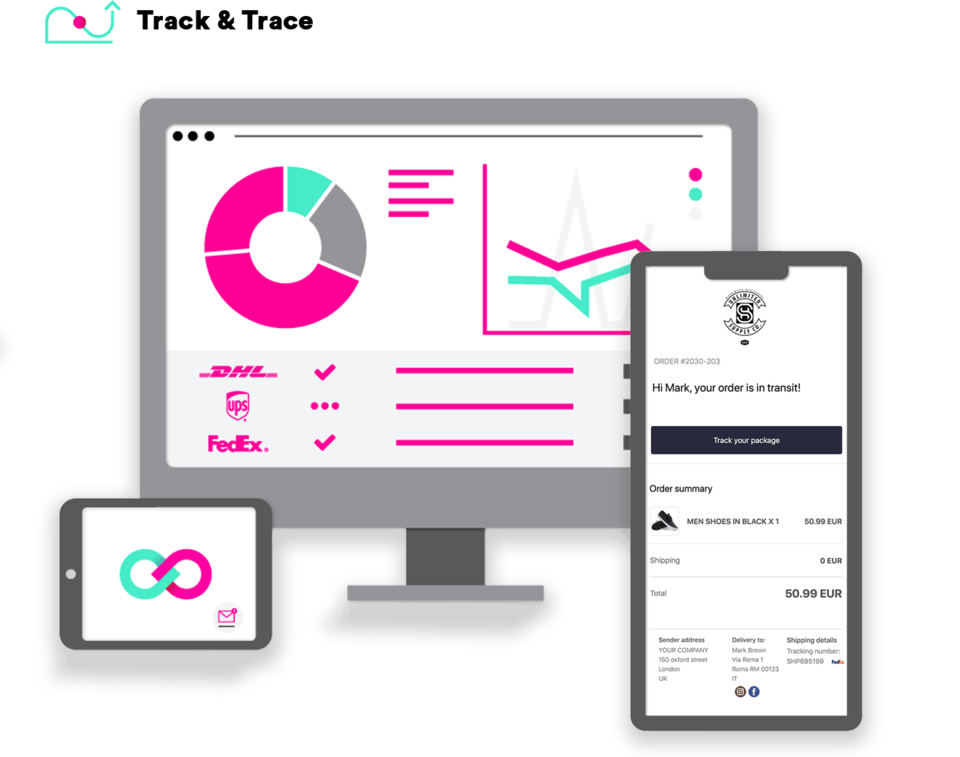 ShippyPro Track&Trace helps you have full control of your shipments in a single dashboard, personalize the tracking page and transactional e-mails and tracking notifications