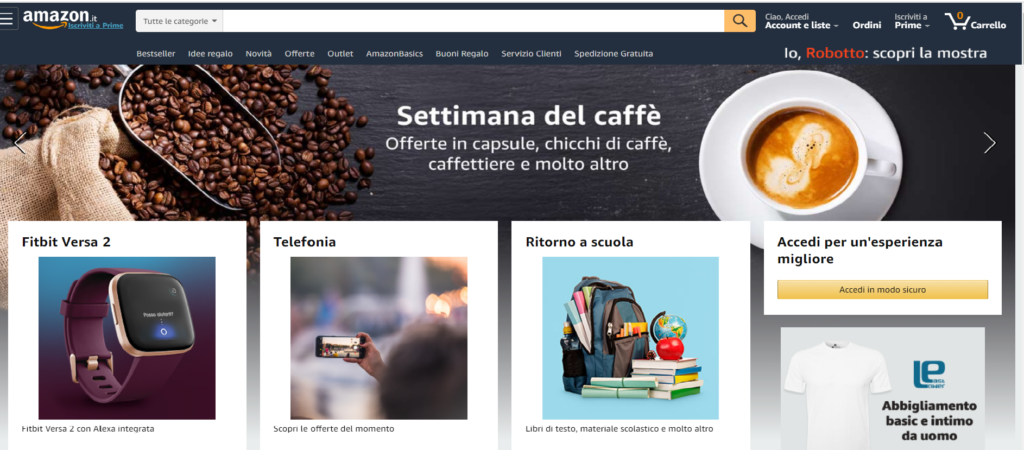 Amazon.it Marketplcace Home page