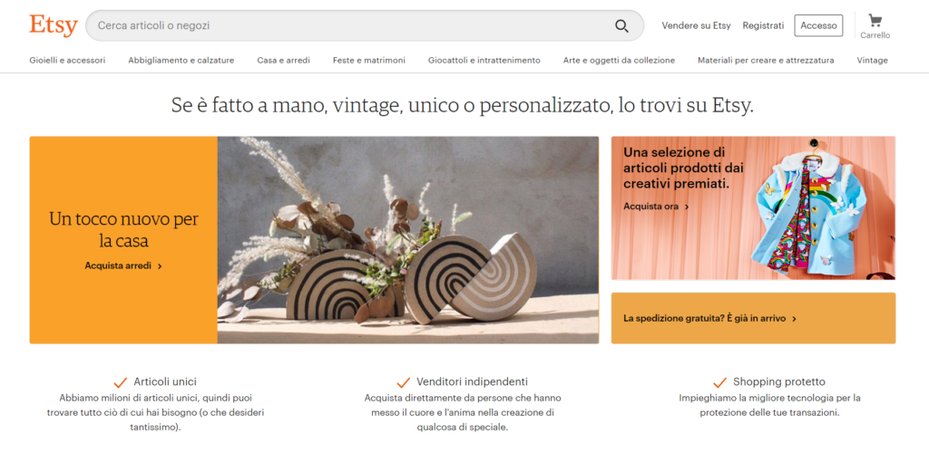 Etsy is the right Marketplace to sell online in Italy if you sell handmade clothes and jewelry