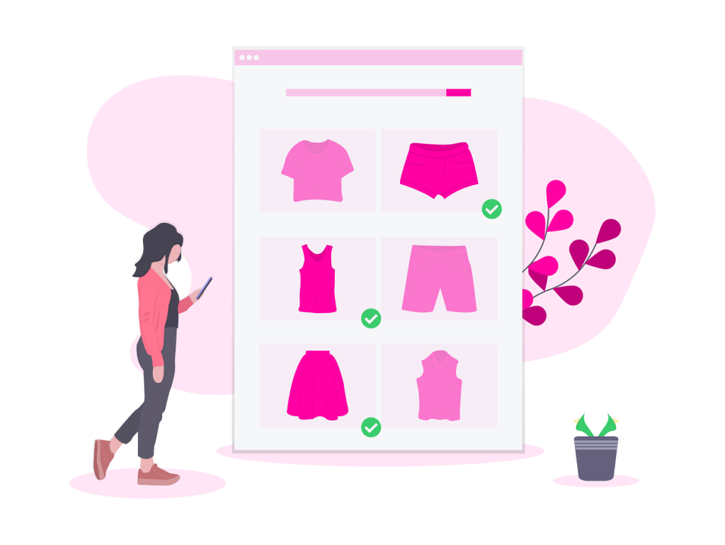 Woman selecting several items of clothing when online shopping