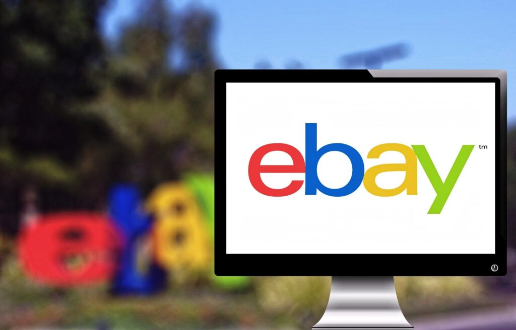 Graphic of computer with ebay on screen