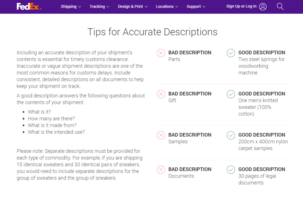 FedEx examples of bad and good descriptions in commercial invoices