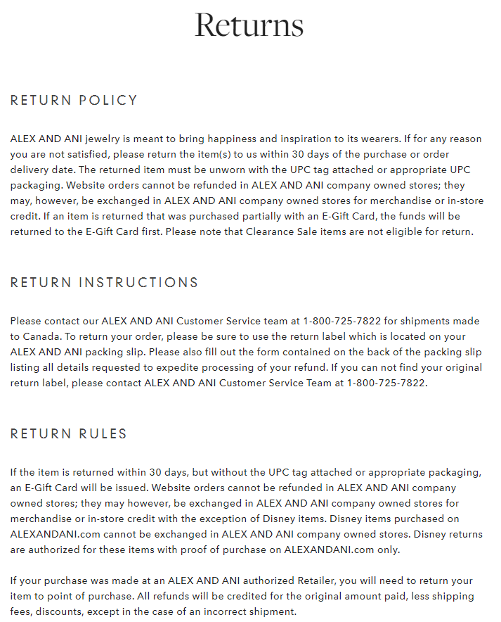 Alex and Ani's return policy