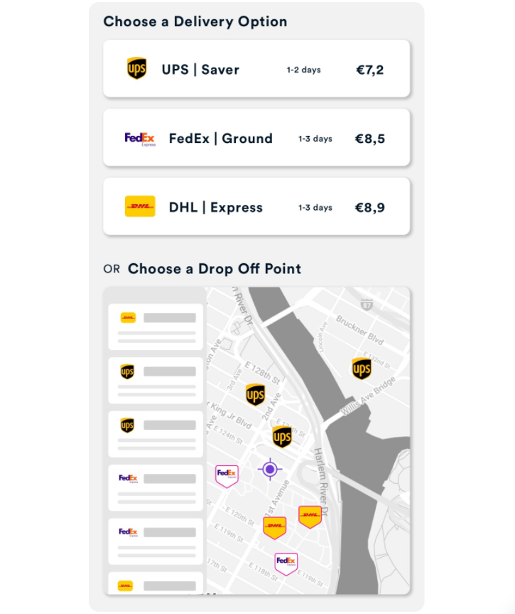 ShippyPro Live Checkout to show real-time shipping rates for multiple delivery options and nearest pickup locations