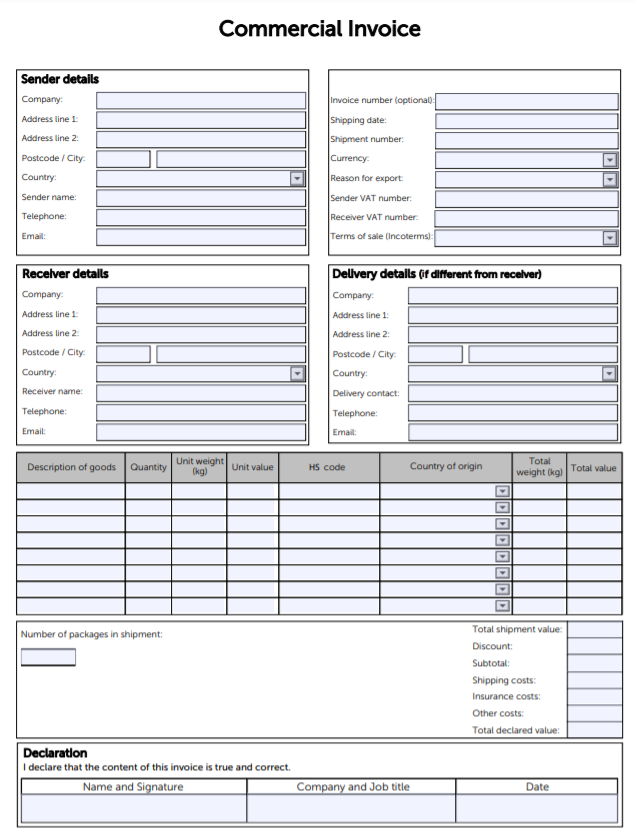 Example commercial invoice template