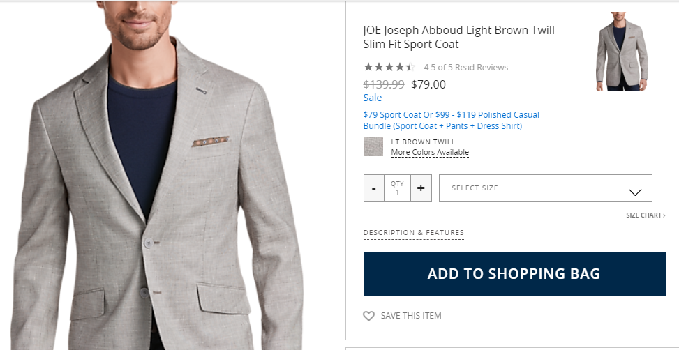 ecommerce product bundle example from Men's Warehouse