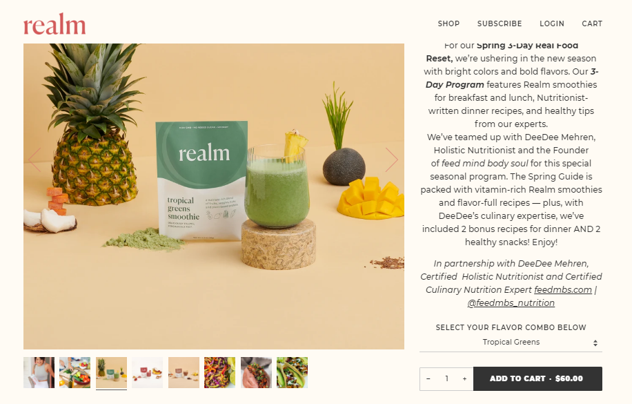 ecommerce product bundle example from Realm