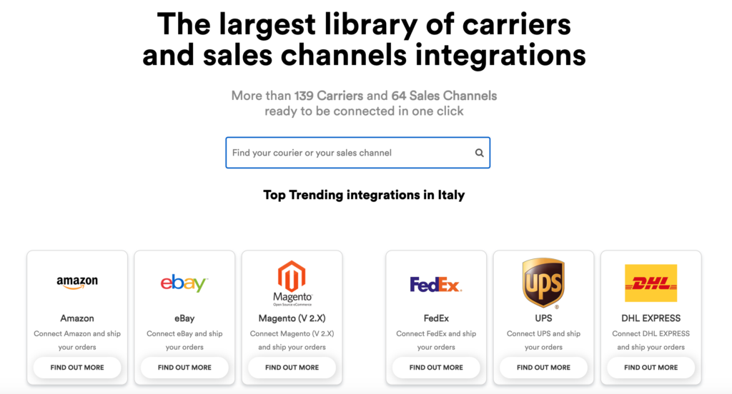 ShippyPro integration library - 139 carriers and 64 sales channels ready to be connected