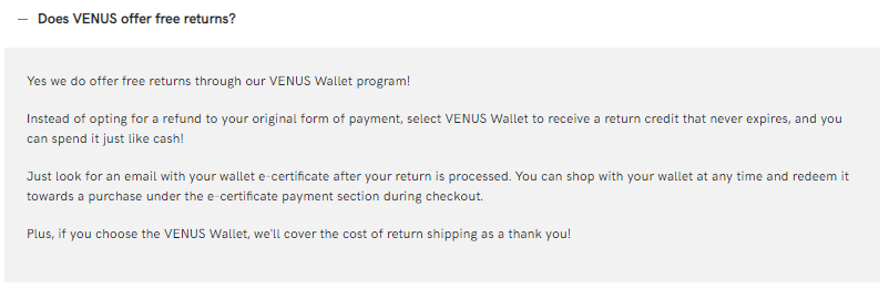 Venus Wallet program for free return shipping with store credit